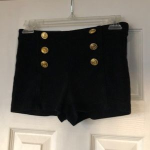 Forever 21 black shorts with six gold buttons